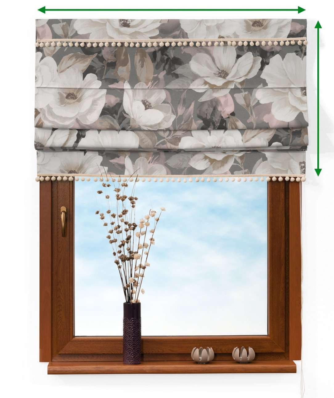 Roleta rímska s brmbolcami V kolekcii Gardenia, tkanina: 142-13