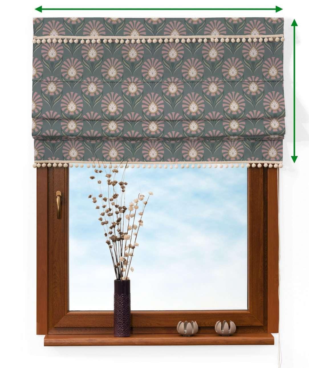 Vouwgordijn met pompons van de collectie Gardenia, Stof: 142-17