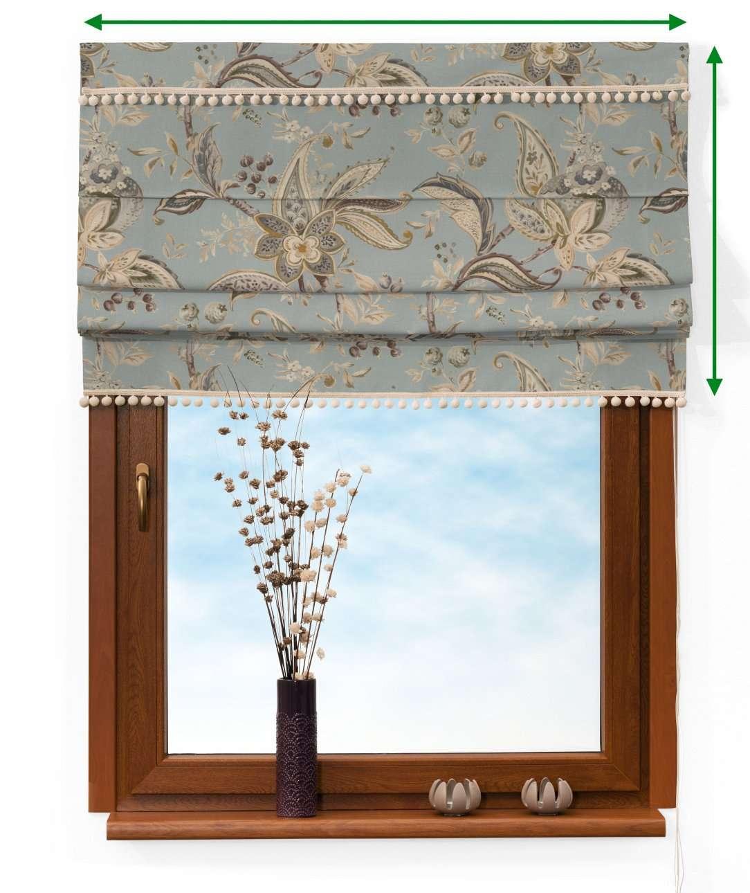 Roleta rzymska z pomponikami w kolekcji Gardenia, tkanina: 142-18
