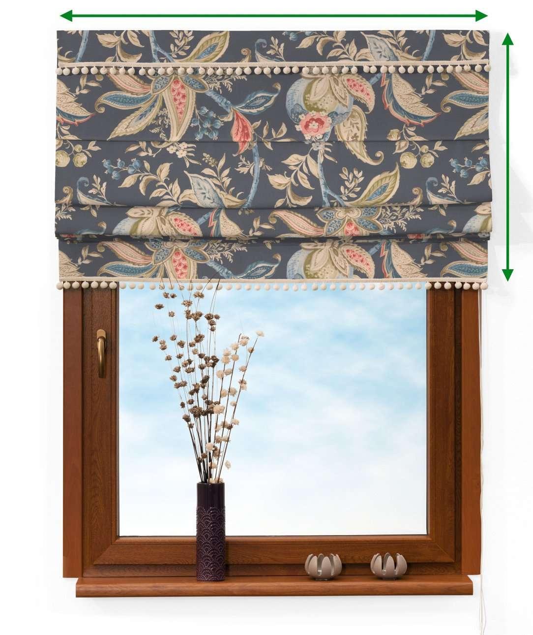 Vouwgordijn met pompons van de collectie Gardenia, Stof: 142-19