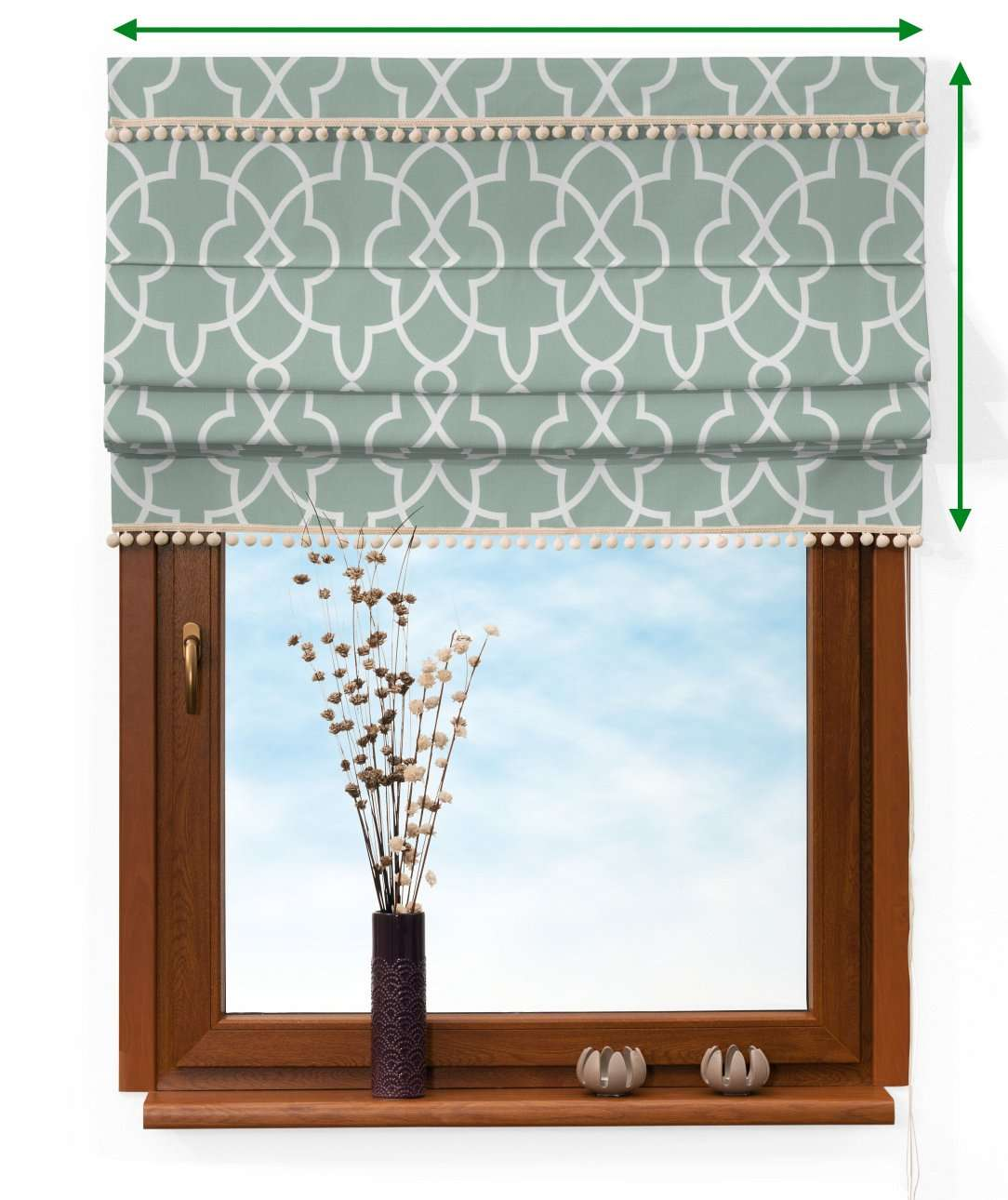 Padva blind with pompoms in collection Gardenia, fabric: 142-23