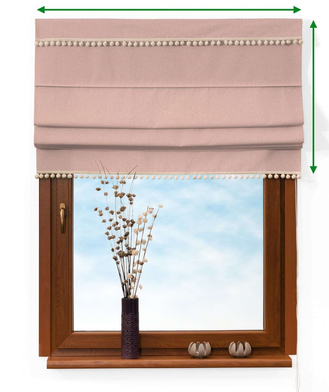 Padva blind with pompoms in collection Woolly, fabric: 142-38