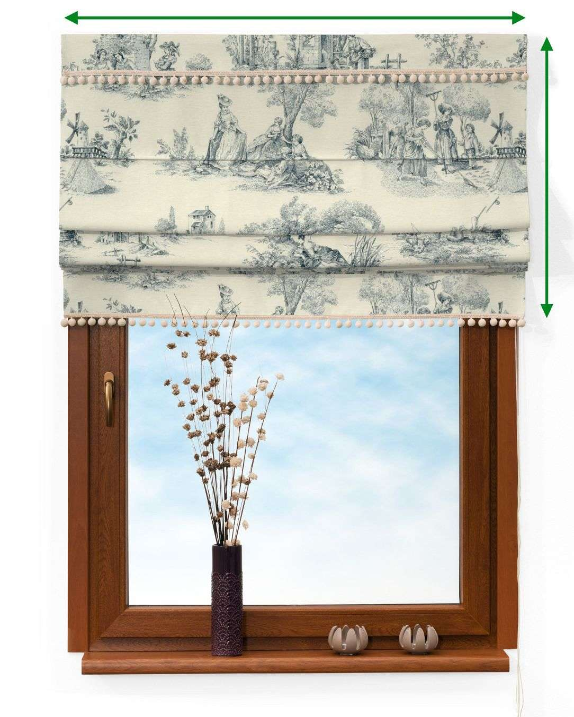 Vouwgordijn met pompons van de collectie Avinon, Stof: 132-66