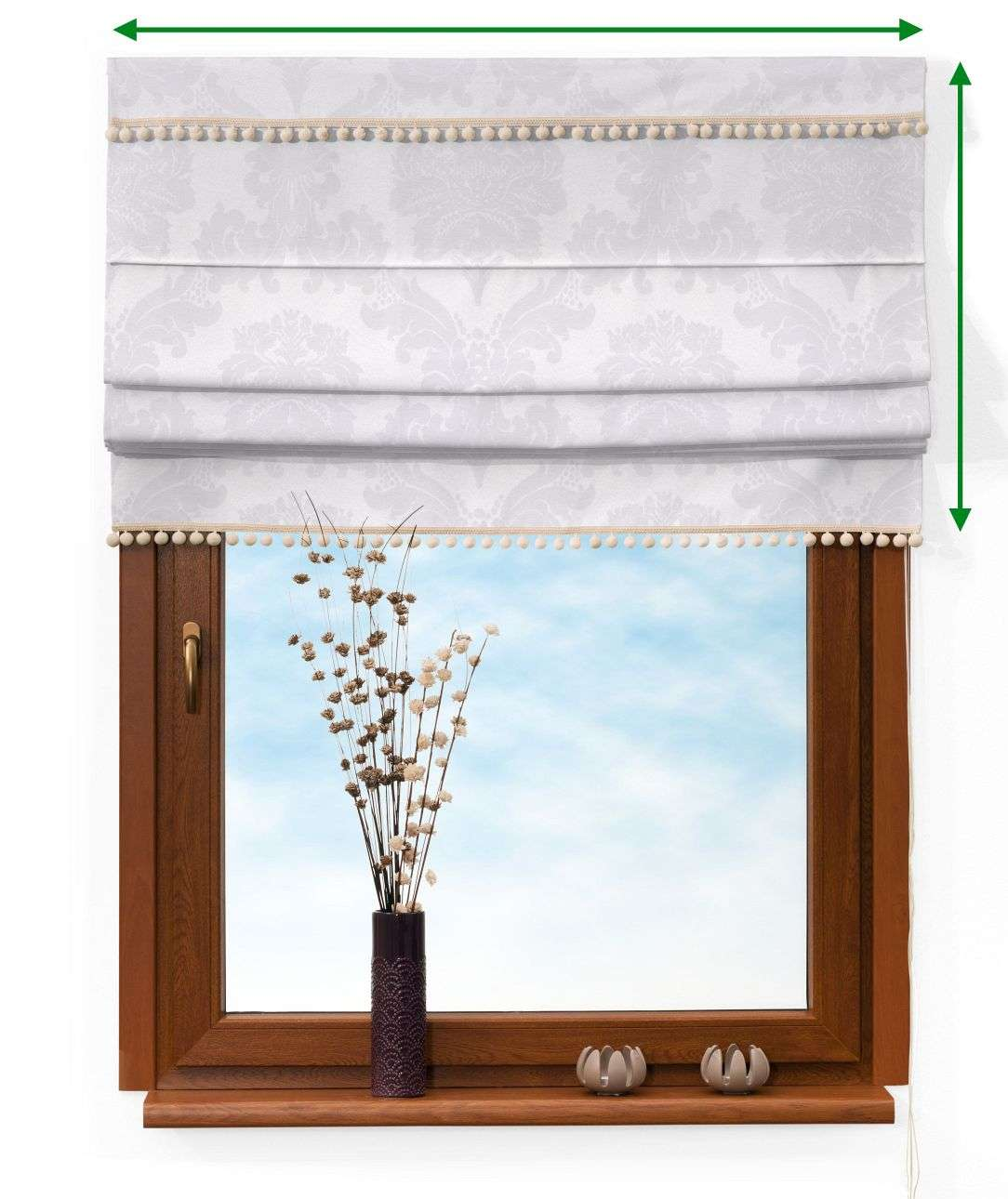 Padva blind with pompoms in collection Damasco, fabric: 613-00