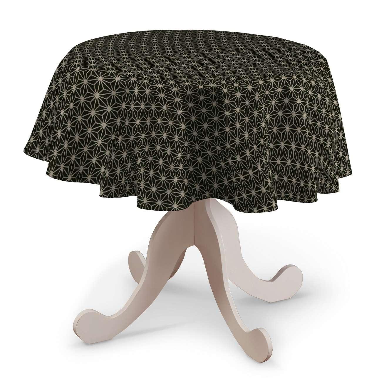 Rund bordsduk i kollektionen Black & White, Tyg: 142-56