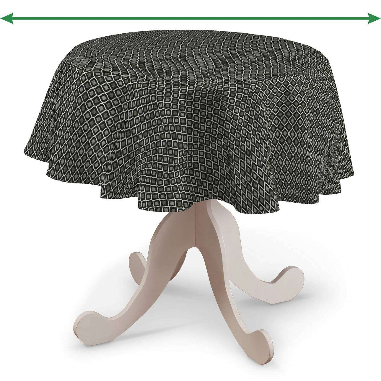 Rund bordsduk i kollektionen Black & White, Tyg: 142-86
