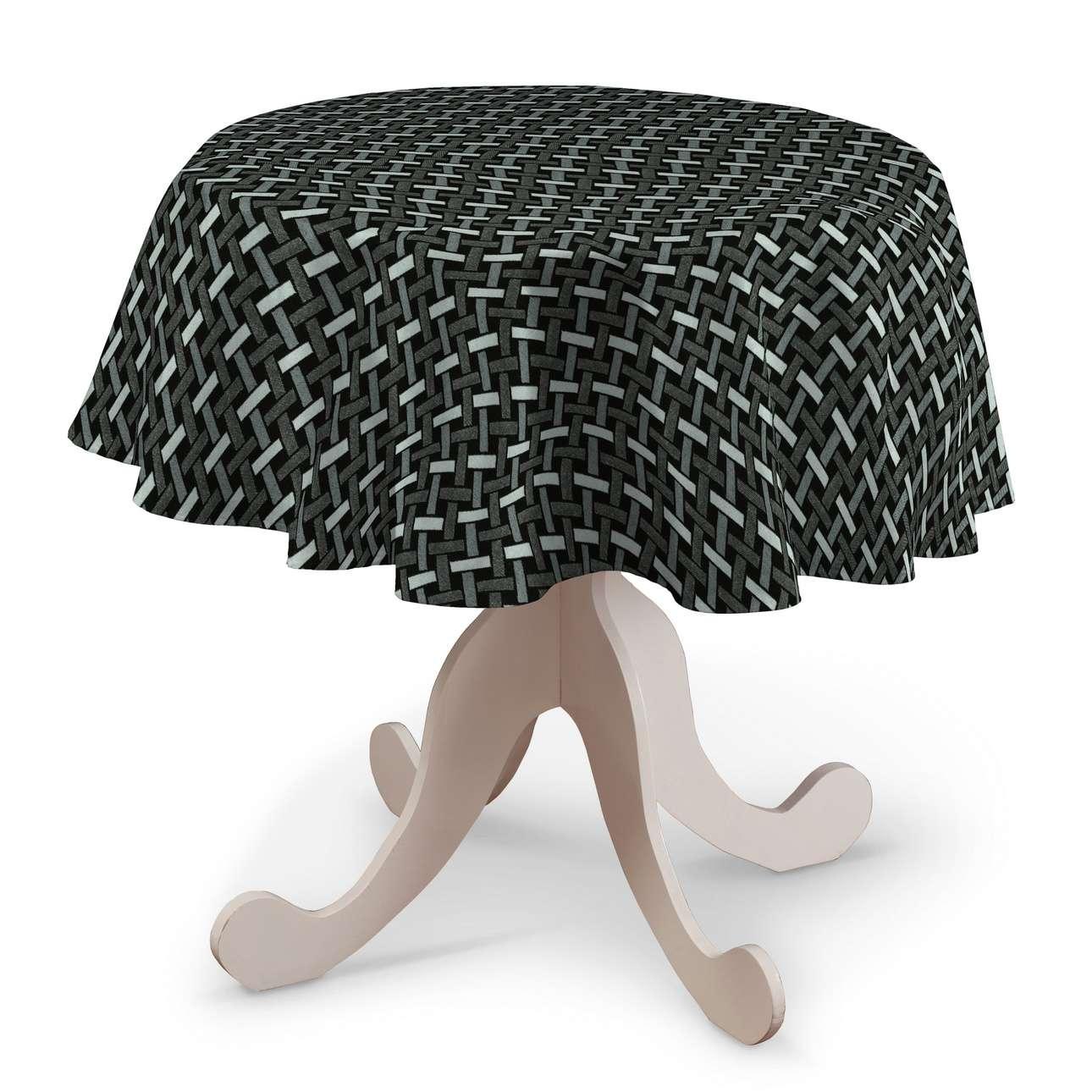 Rund bordsduk i kollektionen Black & White, Tyg: 142-87