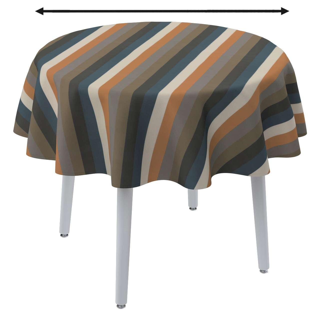 Pyöreä pöytäliina mallistosta Vintage 70's, Kangas: 143-58