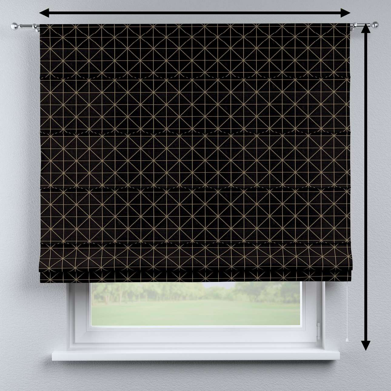 Vouwgordijn Torino van de collectie Black & White, Stof: 142-55