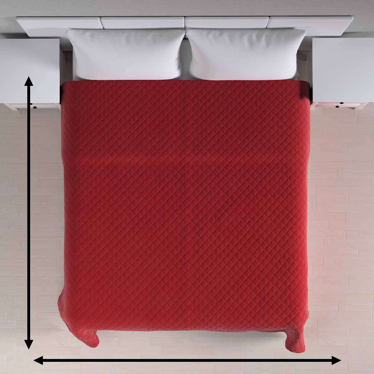 Sengeteppe quiltet<br/>i rombe i velour fra kolleksjonen Velvet, Stoffets bredde: 704-15