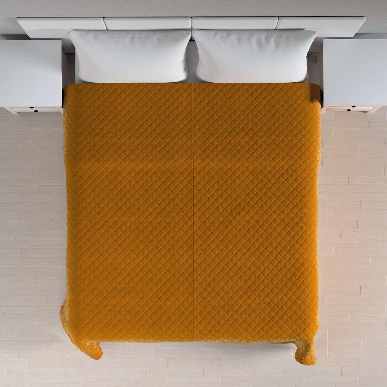 Sengetæppe quiltet<br/>i rombe i volour fra kollektionen Velvet, Stof: 704-23