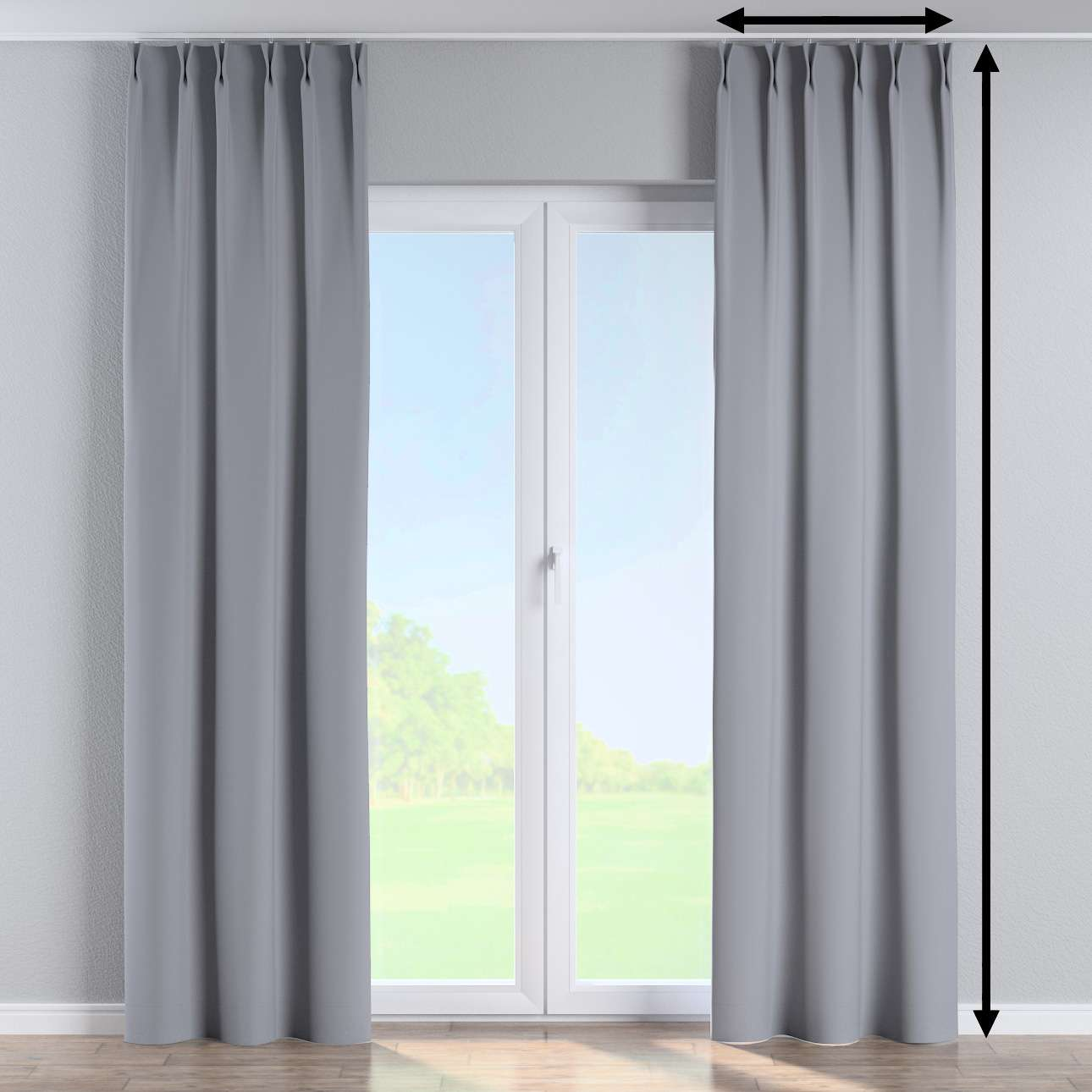 Vorhang mit flämischen Falten von der Kollektion Blackout (verdunkelnd), Stoff: 269-96