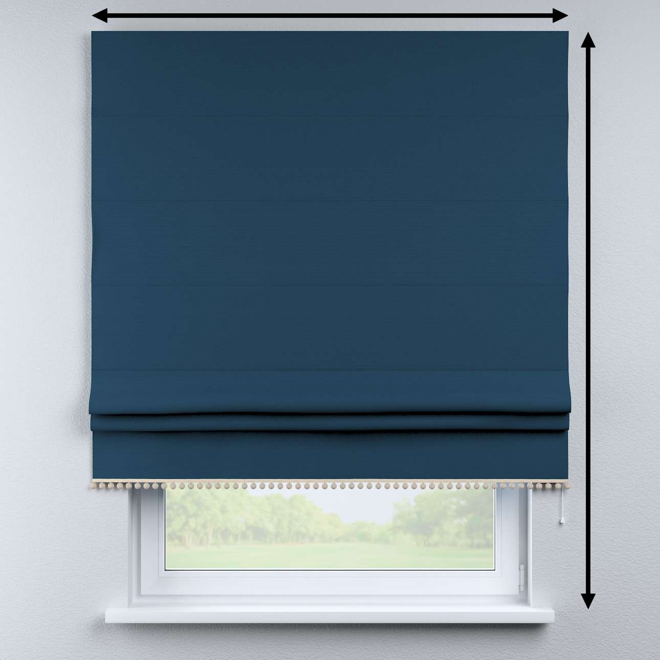 Roman blind with pompoms in collection Cotton Story, fabric: 702-30